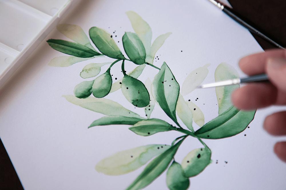 カンタン水彩画・オリーブの描き方
