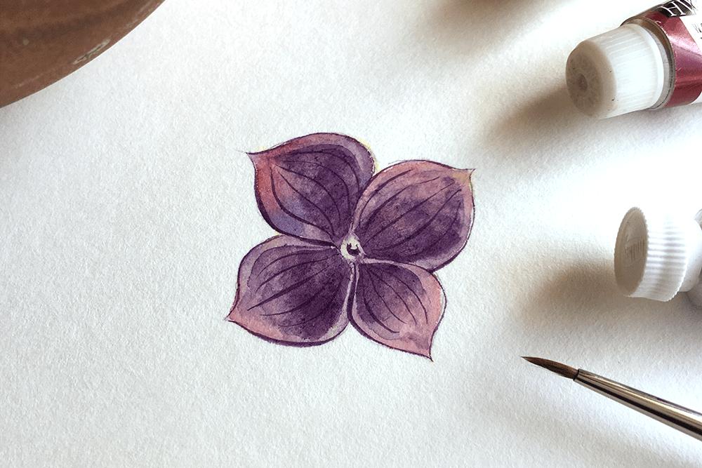 透明水彩メイキング「紫陽花の花びら」の描き方